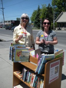Two if our volunteers, Camrose and Tori, received dandelions of appreciation from a child who picked out books for her siblings - but not herself.